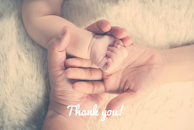 Thank you from family holding hands